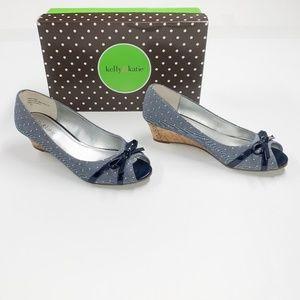 Kelly & Katie Navy Polka Dot Open Toe Shoes